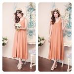 Plain Maxi Dress สีส้มอิฐ